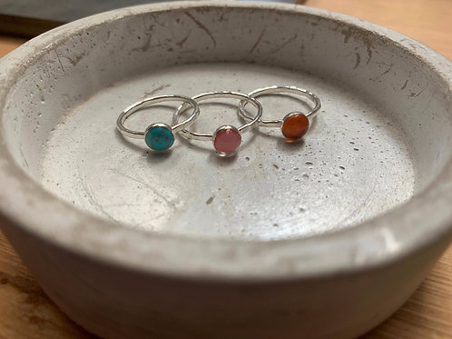 Silver stacking Ring with stone setting