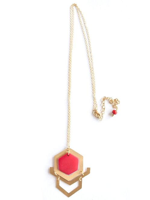 Red Art Deco Pendant Necklace