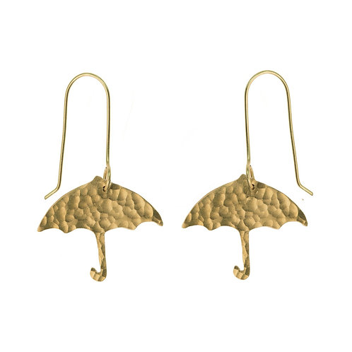 Hammered Brass Umbrella Earrings