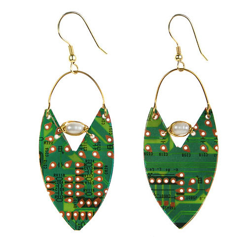 Upcycled circuitboard earrings
