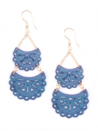 Blue Cut Out Crescent Earrings