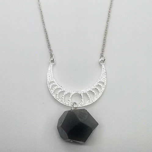 Half moon and onyx pendant necklace