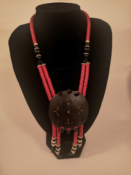 Wood and Vinyl Disk Necklace
