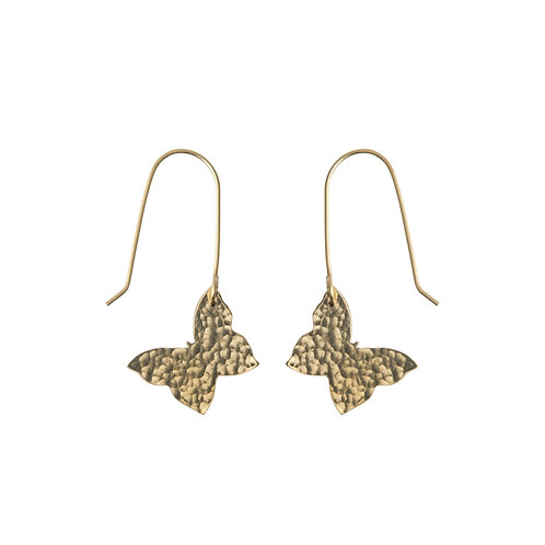 Hammered Brass Butterfly Earrings