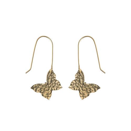 Hammered Brass Butterfly Earrings