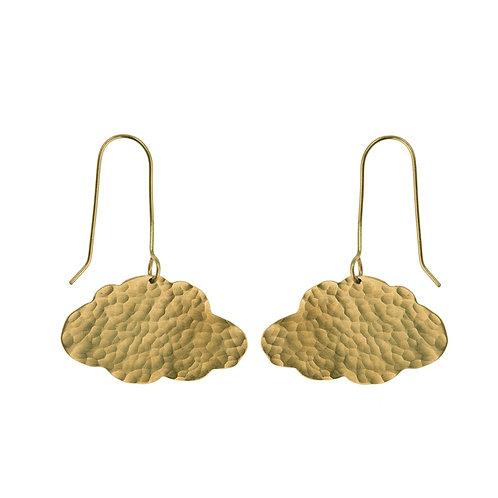 Hammered Brass Cloud Earrings