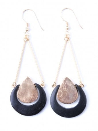 Black and Gold Crescent Earrings