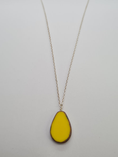 Glass stone silver necklace