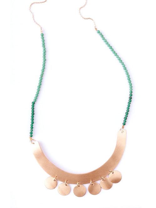 Beaded Golden Bib Necklace