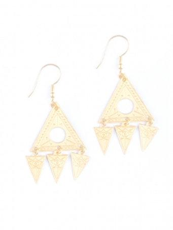Mini Aztec Goldtone Earrings