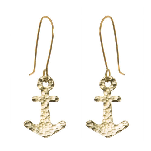 Brass Hammered Anchor Earrings