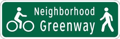 Neighborhood greenways provide a safe alternative route for pedestrians and bicycles.