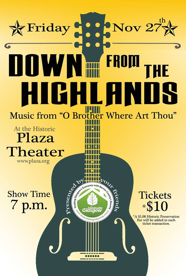 Local bluegrass music played at Glasgow's own historic Plaza Theater.