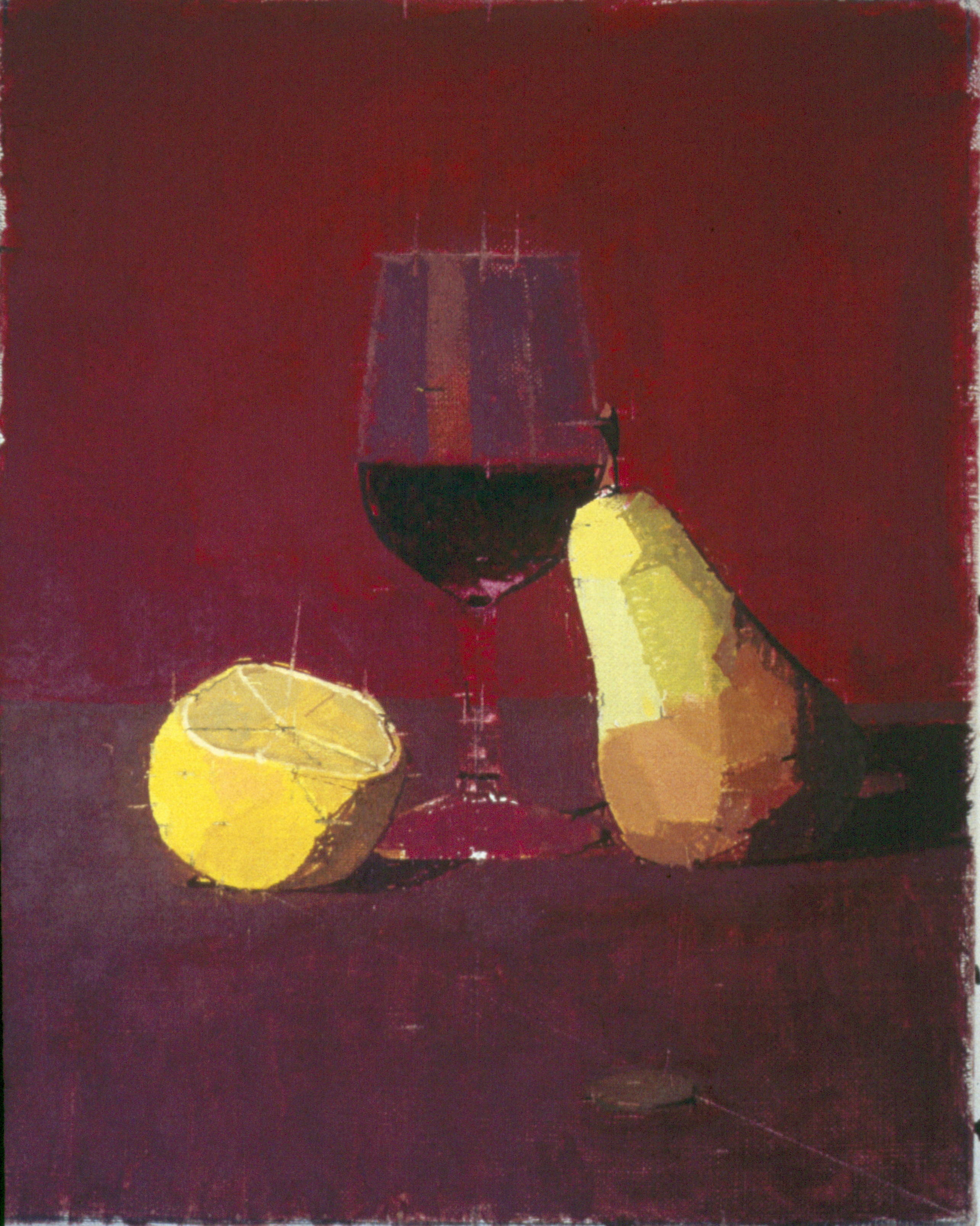 Wine Glass with Lemon and Pear