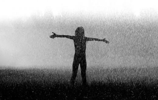 בלילה, בגשם