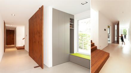 Eingangsbereich mit Garderobe und Pivottür