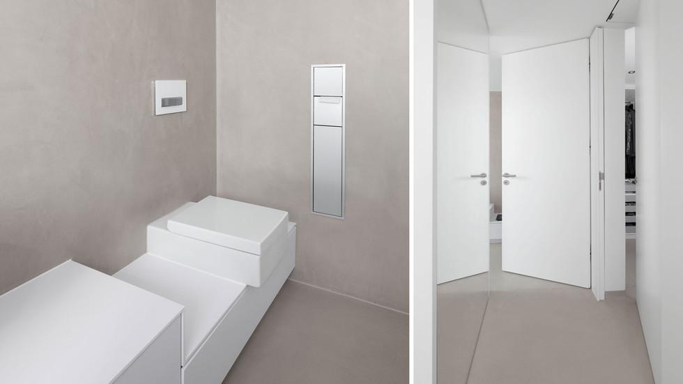 Integrierete Toilette und raumhohe Türen