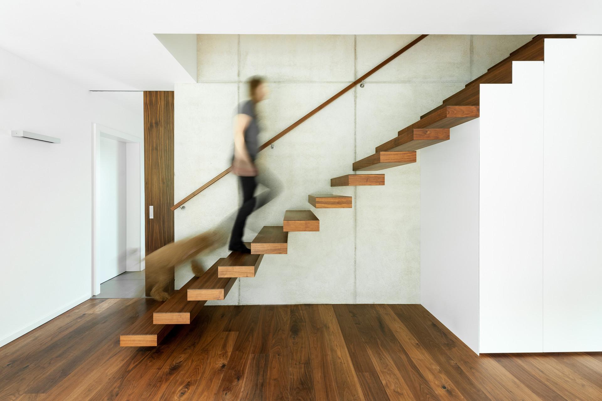 Frei auskragende Treppe aus Nussbaum an Stahlbetonwand