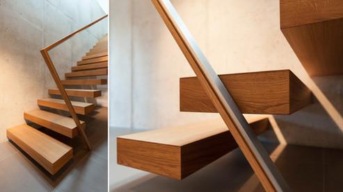 Auskragende Treppe auf Betonwand Details