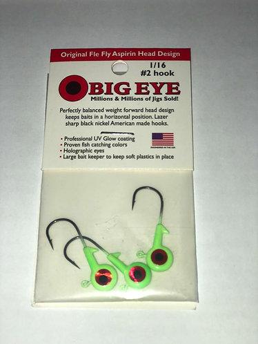 """""""Chartreuse"""" Big Eye Jig Head 1/16 oz."""