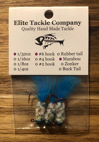 Elite Tackle Jigs(Glitter Green/White/Blue)