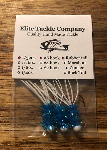 Elite Tackle Jigs(White & Light Blue)