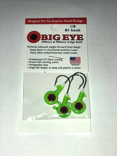"""""""Chartreuse"""" Big Eye Jig Head 1/8 oz."""