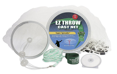 EZ THROW 1000 4′ x 3/8″ Mesh, Clear Mono, Non-Lead Weights