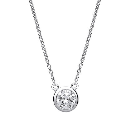 "STERLING SILVER 17"" TRACE CHAIN 7MM ROUND GALLERY SET CUBIC ZIRCONIA NECKLACE"