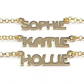 NEW MINI NAME NECKLACE YELLOW GOLD PLATE