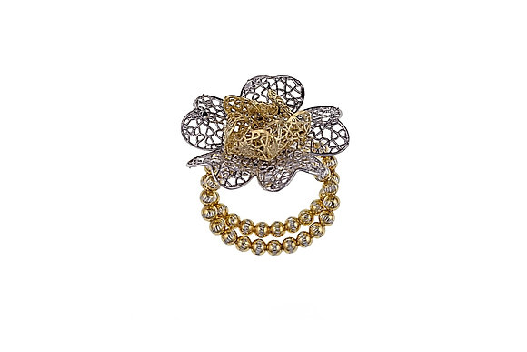 Daisy Gold Silver Ring