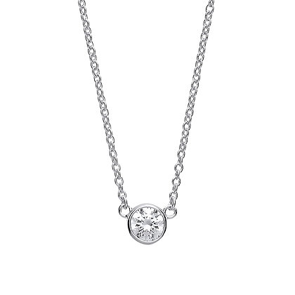 """E\\STERLING SILVER 17"""" TRACE CHAIN 8MM ROUND RUB OVER CUBIC ZIRCONIANECKLACE"""