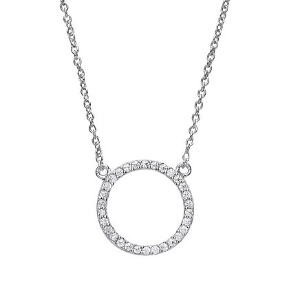 SILVER KARMA PENDANT ROUND STONES ON TRACE CHAIN