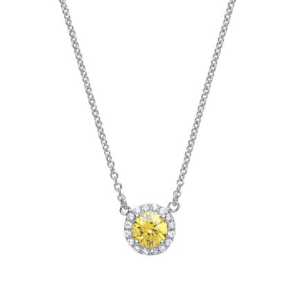 SILVER YELLOW CZ SLIDER PENDANT ROUND ON TRACE CHAIN 901792
