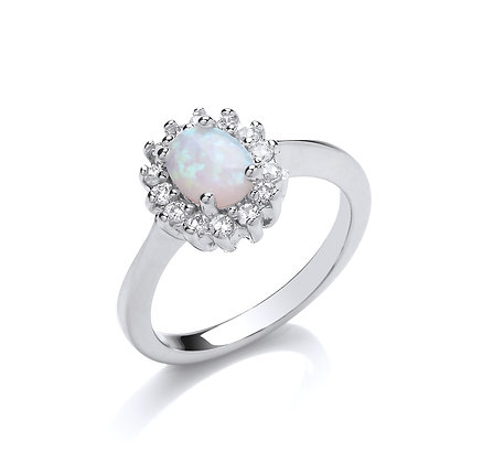 STERLING SILVER CZ RING LADIES OVAL OPAL CUBIC ZIRCONIA HALO CLUSTER DRESS BAND