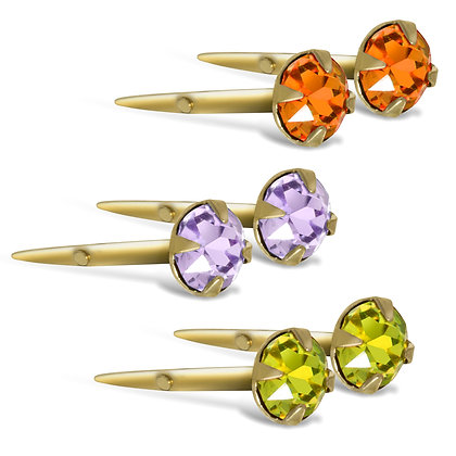 Andralok 3mm 9CT round coloured earrings