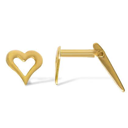 9CT GOLD CUT OUT HEART ANDRALOK STUD EARRINGS