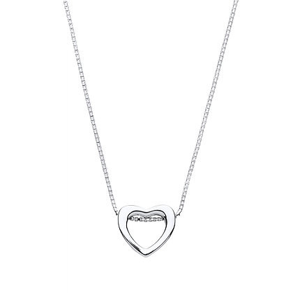 """STERLING SILVER 17"""" BOX CHAIN SLIDING HEART PENDANT OPEN HANGING HEART NECKLACE"""