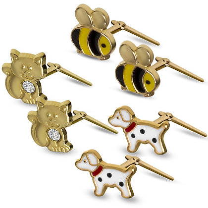 9CT GOLD DOG PUP DALMATION KITTEN BUMBLE BEE ANDRALOK EARRINGS ENAMELLED