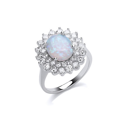 STERLING SILVER SOLID 18X17MM 2 ROW CUBIC ZIRCONIA HALO WITH OVAL CZ OPAL CENTRE