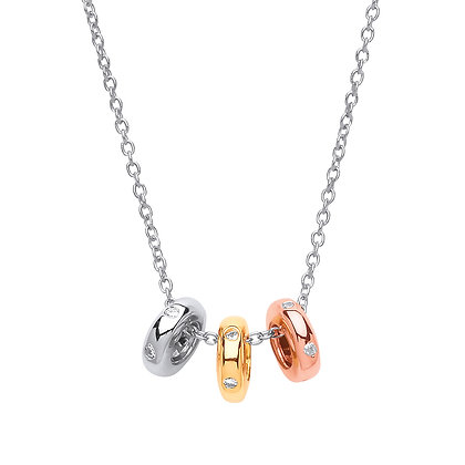 STERLING SILVER 3 SLIDING RINGS WHITE, YELLOW AND ROSE GOLD PLATED NECKLACE