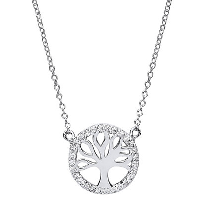 TREE OF LIFE NECKLACE CZ HALO 13MM DIAMETER