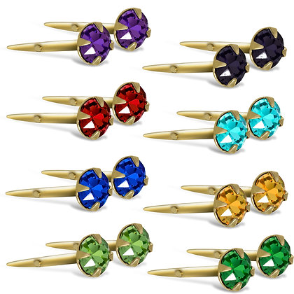 9CT GOLD 3.5mm ANDRALOK STUD EARRINGS COLOUR CUBIC ZIRCONIA ROUND