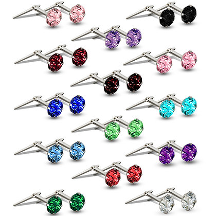 Andralox 3mm sterling silver colour CZ stud earrings