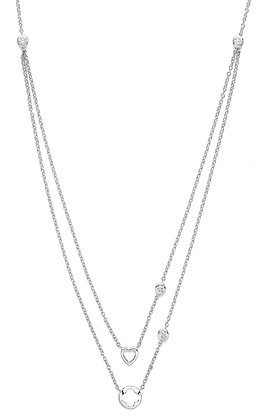 "STERLING SILVER 20"" MULTI LAYER TRACE CHAIN HEART AND FLOWERS CUBIC ZIRCONIA"