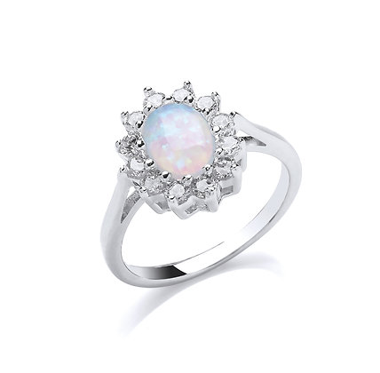 STERLING SILVER SOLID 14X12MM 1 ROW CUBIC ZIRCONIA HALO WITH OVAL OPAL CENTRE