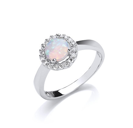 STERLING SILVER SOLID 11MM 1 ROW CUBIC ZIRCONIA HALO WITH ROUND OPAL CENTRE