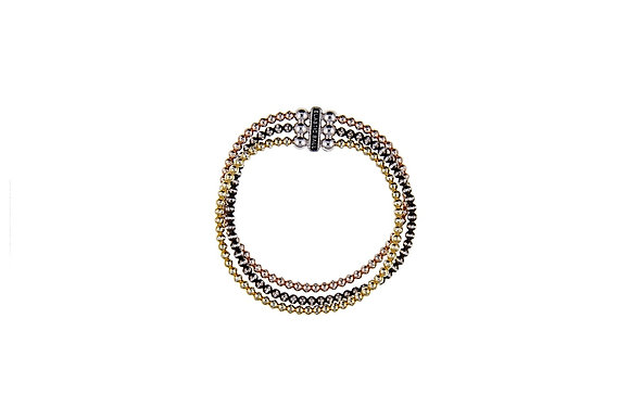 Multi-Toned Triple Strand Bracelet
