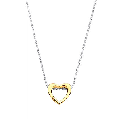 """STERLING SILVER 17"""" BOX CHAIN SLIDING HEART PENDANT YELLOW GOLD PLATE NECKLACE"""