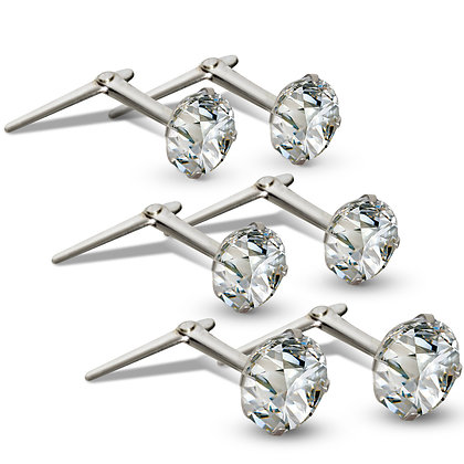 Andralox white sterling silver CZ stud earrings